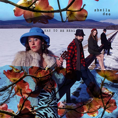 album cover with people and mountains and trees